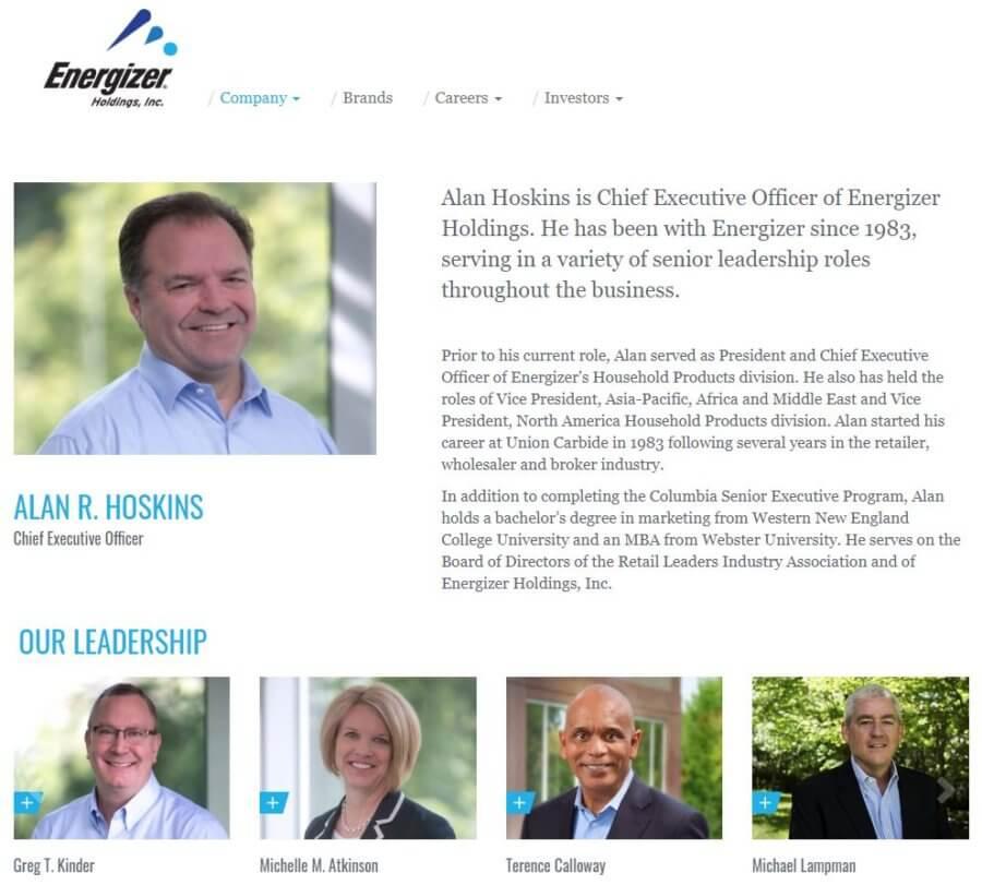 senior management qualifications investor relations website