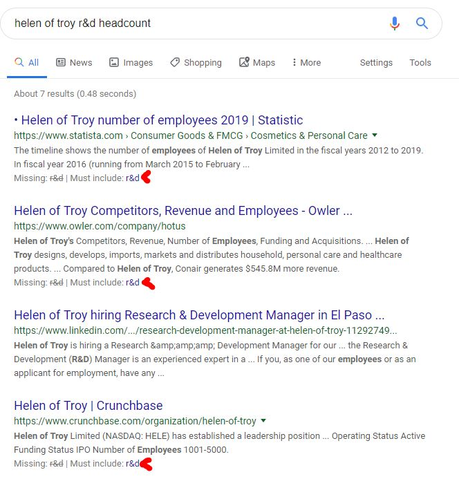 headcount search results