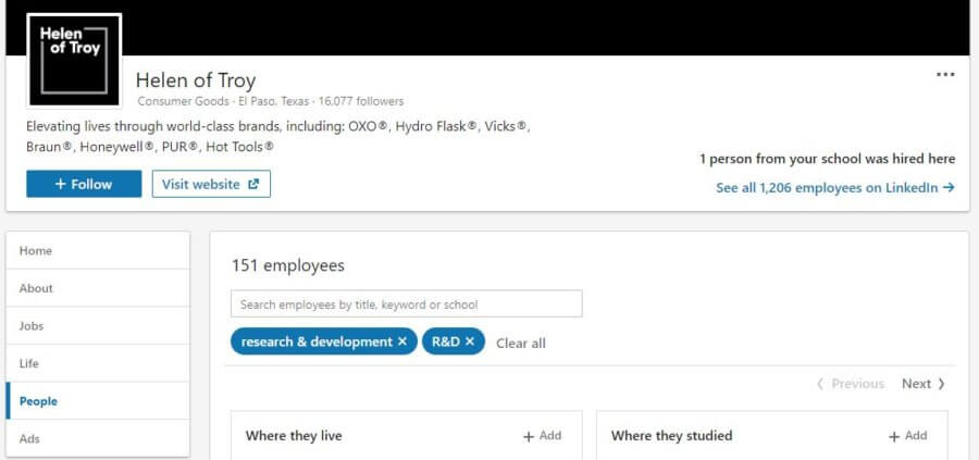 effective rd management linkedin search people