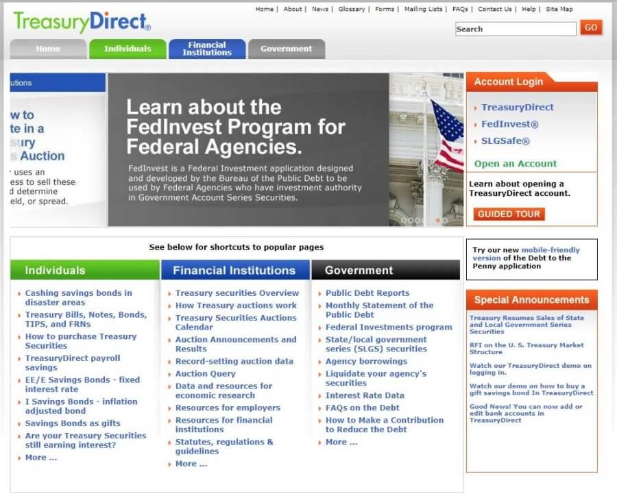 types of treasury securities direct screenshot
