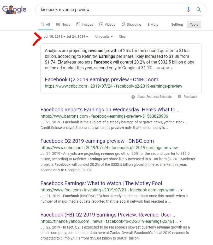 date specific search facebook revenue preview