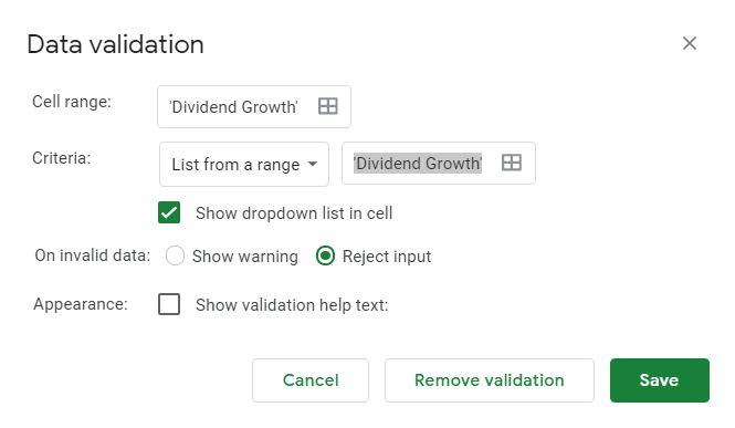 dividend growth data validation box