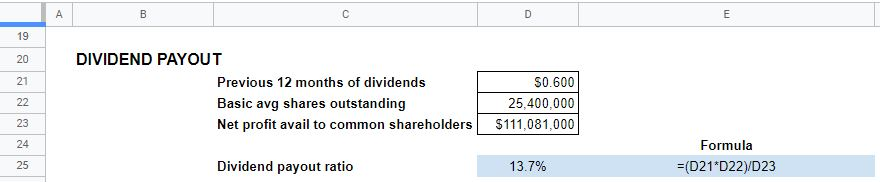 dividend payout ratio calculations excel