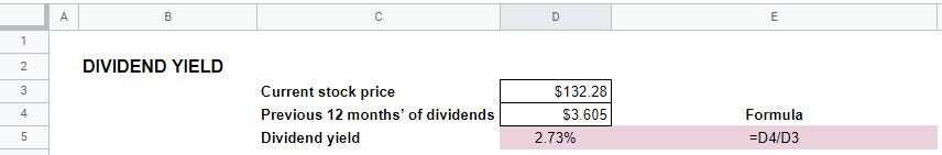dividend yield calculation excel 2