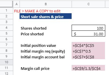 short sale shares and price excel calculations